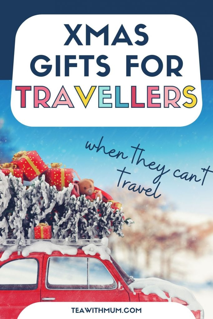 PIN: Xmas gifts for travel lovers when they can't travel, with image of a red car with a Christmas tree on the roof
