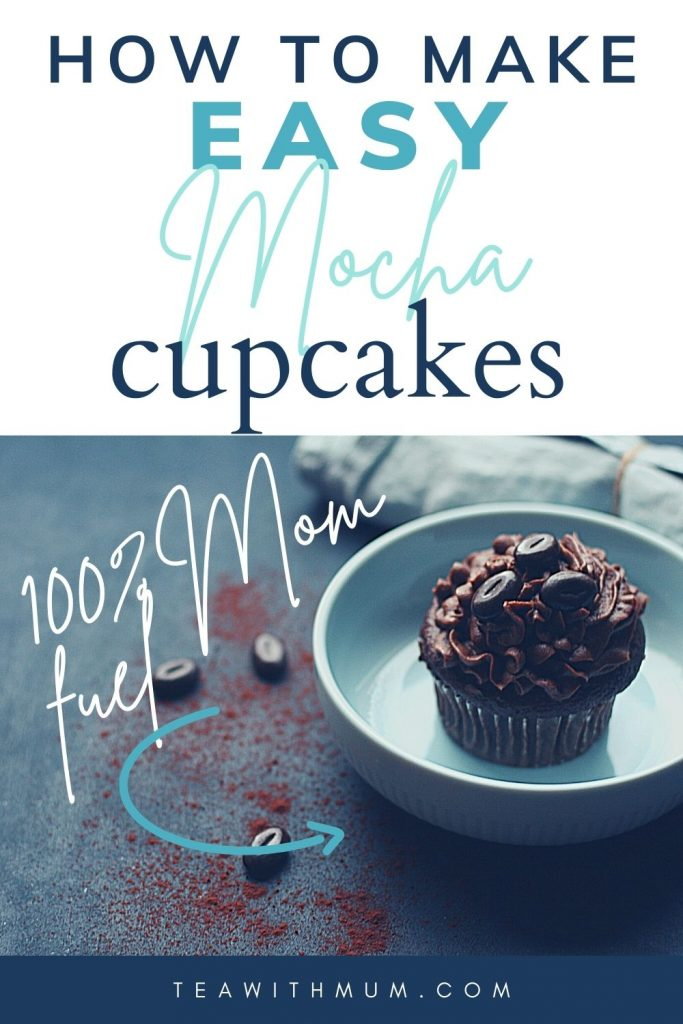 Pin: How to make easy mocha cupcakes with mocha frosting and chocolate-coated coffee beans: 100% mom fuel - with image of a single cupcake in a blue bowl