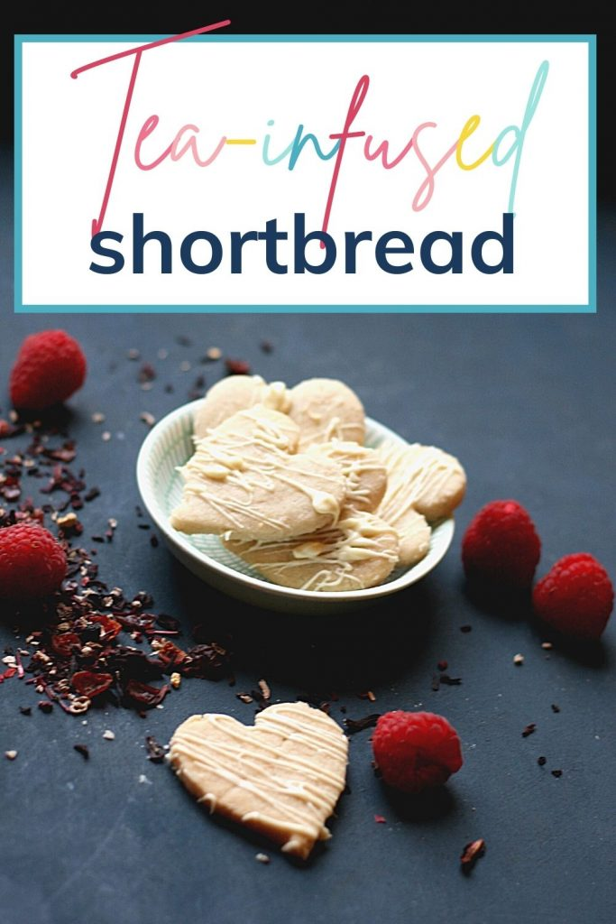 Pin: Tea-infused shortbread, with image of a bowl of the tea-infused shortbread with fresh raspberries and loose tea
