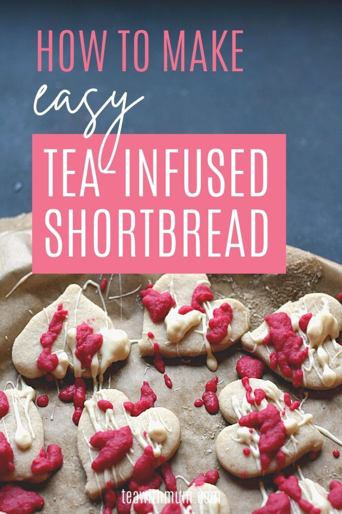 Pin: How to make easy tea-infused  shortbread, with image of tea-infused shortbread on a tray with white chocolate drizzle and pink chocolate spots