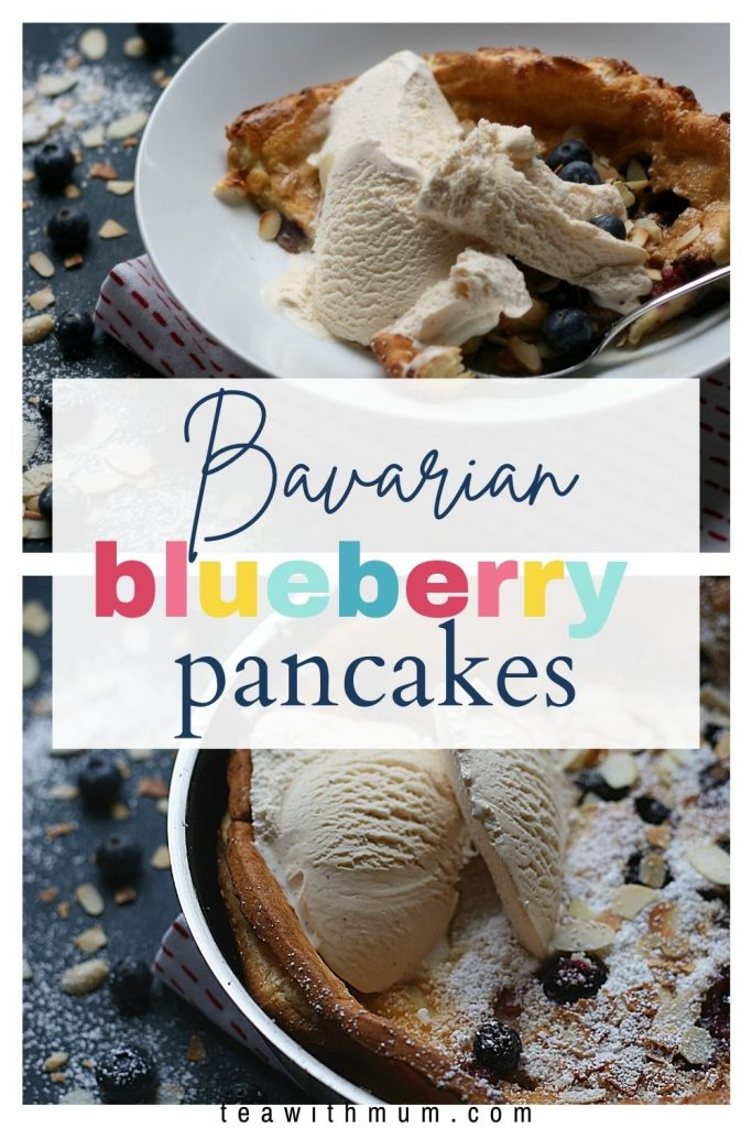 Pin: Bavarian blueberry pancakes with image of fresh pancakes straight out of the oven and pancake in a bowl with ice cream and toasted almonds