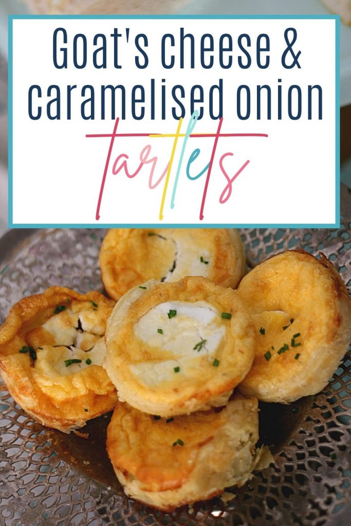 Pin: Goat's cheese and caramelised onion tartlets, with image of a tarts on an antique silver cake stand
