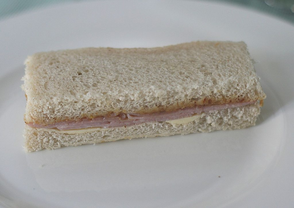 Ham and honey wholegrain mustard afternoon tea finger sandwich with white bread