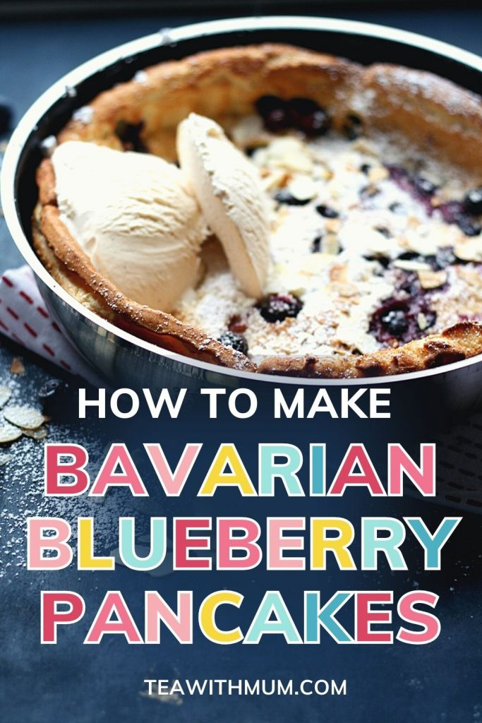 Pin: How to make Bavarian blueberry pancakes with image of a fresh pancake with ice cream and toasted almonds
