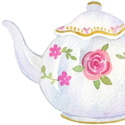 Watercolour teapot, afternoon tea short and sweet