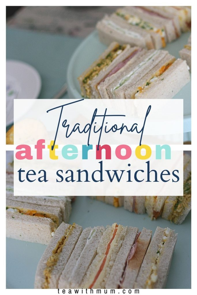 Pin: Traditional afternoon tea sandwiches, with an image of the finger sandwiches on a stand and a close up of sandwiches