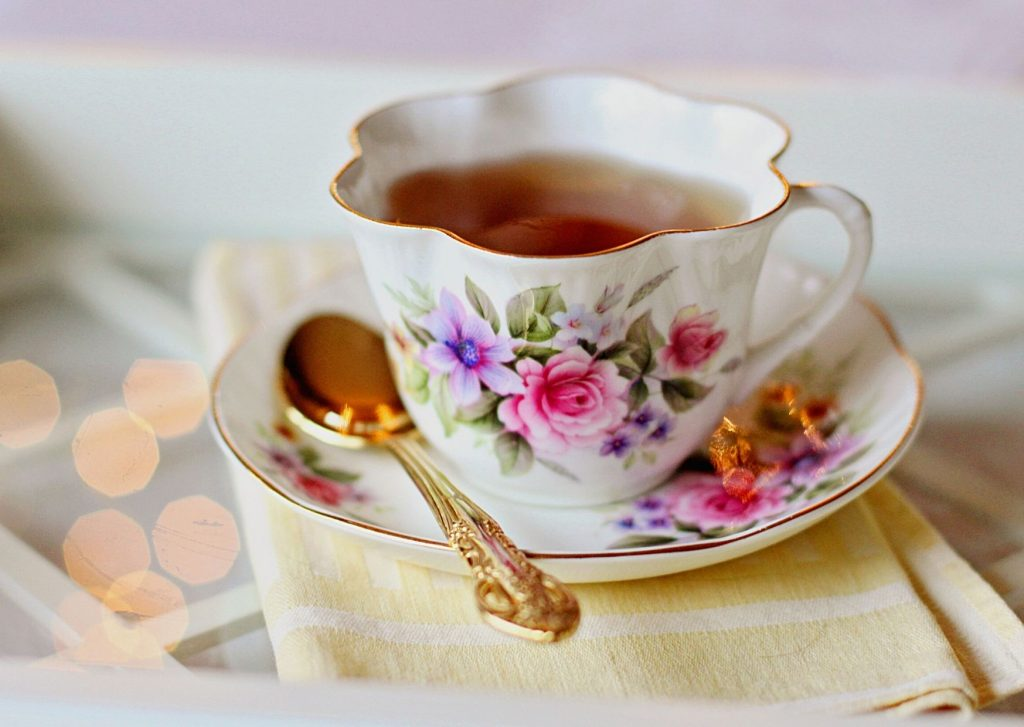 A delicious cup of tea should not be missing from any English afternoon tea, preferably made with fresh tea and not a tea bag and served in a dainty tea cup.
