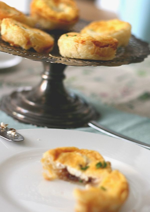 Easy and elegant mini goat's cheese and caramelised onion tarts