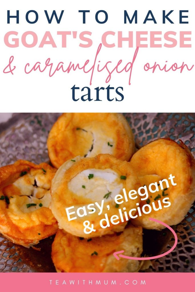 Pin: How to make goat's cheese and caramelised onion tarts; easy, elegant & delicious, with image of 6 tarts on an antique silver cake stand.