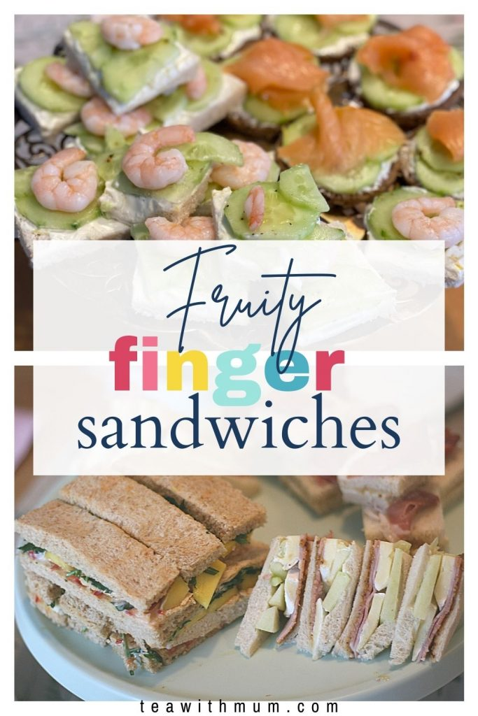 Pin: Fruity finger sandwiches, with two images showcasing all 5 afternoon tea sandwiches with a fruity twist