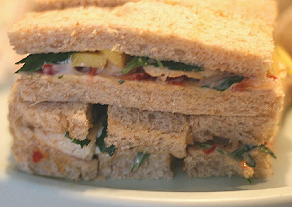 Grilled chicken, mango and sweet chili sandwiches