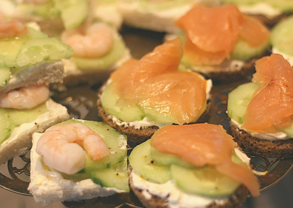 Lemon herbed cream cheese and salmon or prawn open sandwiches