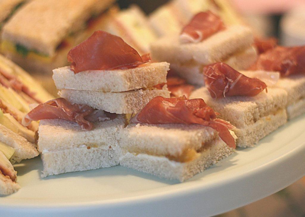 Mascarpone, fig compote and prosciutto sandwiches