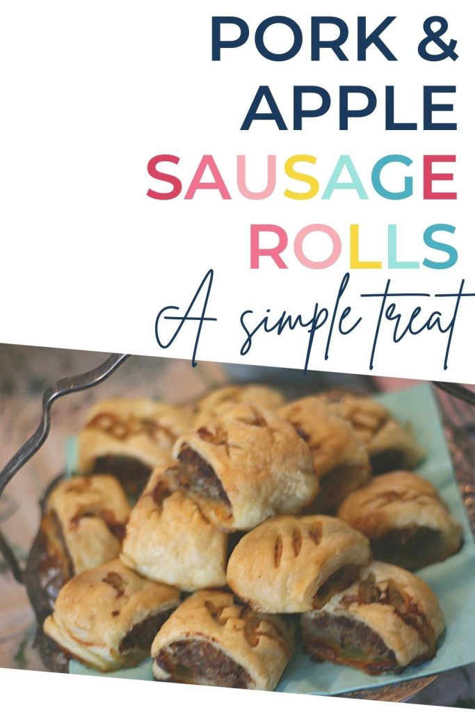 Pin: Pork and apple sausage rolls; A simple treat, with image of the sausage rolls on an antique tray