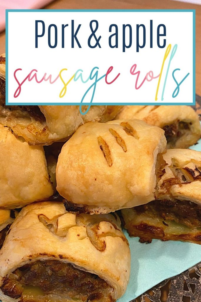 Pin: Pork and apple sausage rolls; with close up image of the sausage rolls