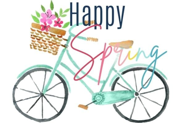Happy Spring sidebar image, with a watercolour image of a bicycle