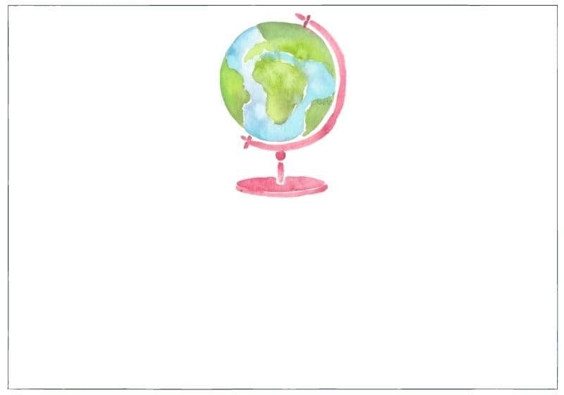 Watercolour globe, category image for the travel category