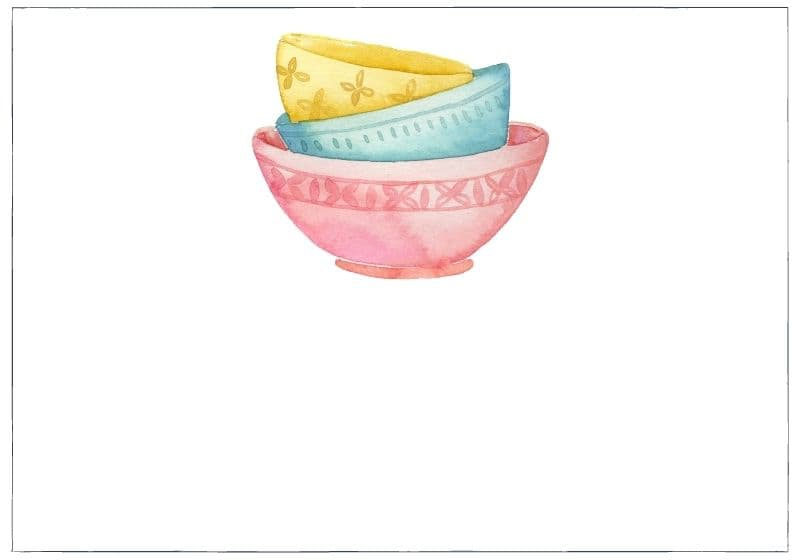 Stack of 3 watercolour bowls, pink, yellow and turquoise: category image for yum category