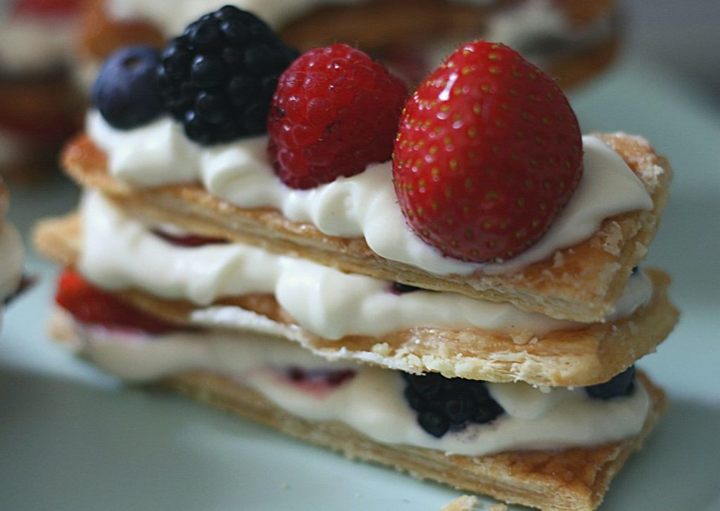 Fresh mille-feuille with white chocolate mascarpone cream and fresh mixed berries