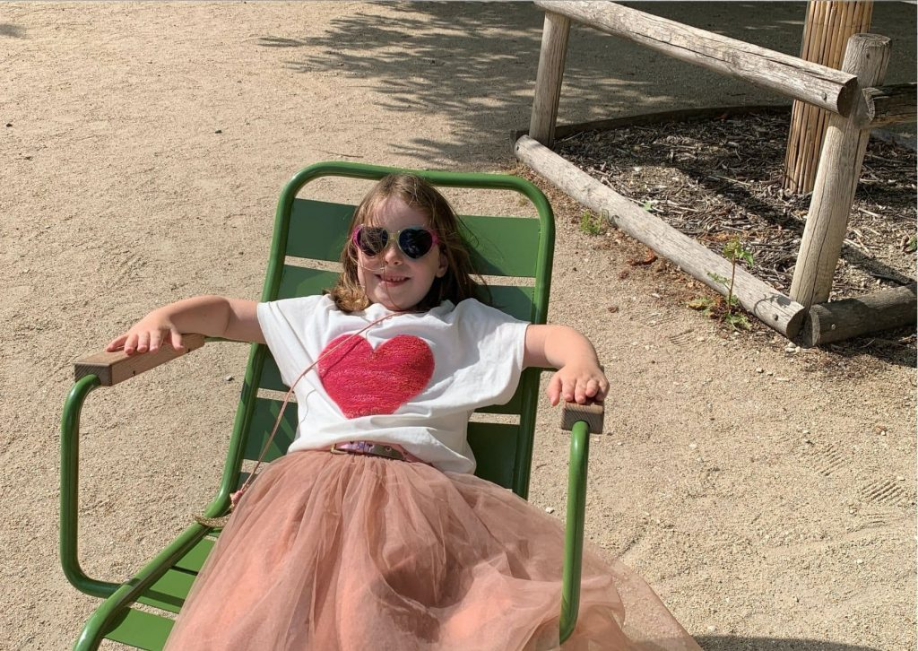 Having a rest in the Jardin des Tuileries on our tour of Ladybug's Paris