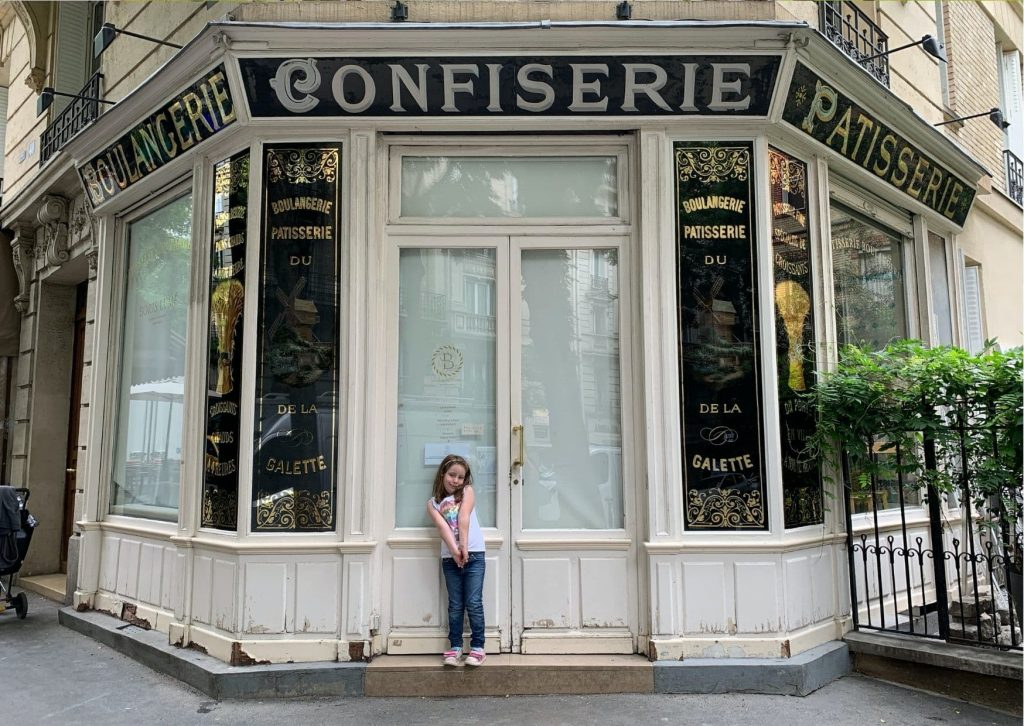 Miss M at Boris Luma Boulangerie, which served as inspiration for the Dupain-Cheng Bakery in Miraculous and has been lovingly copied and animated. This was a highlight on our tour of Ladybug's Paris