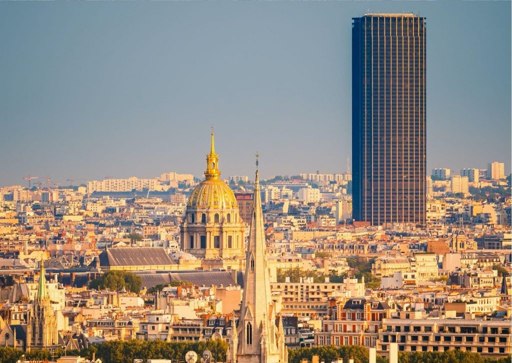 Skyline of Paris, with Tour Montparnasse standing clearly above the skyline. A great stop on a tour of the Miraculous sights in Paris