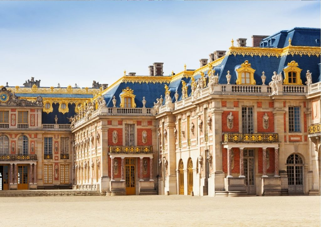 Front view of the Palace of Versailles